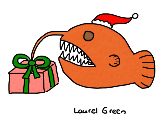 a drawing of an anglerfish with a present for a lure