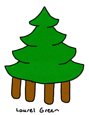 a drawing of a tree with 4 trunks