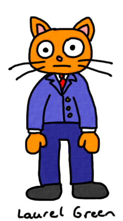 a drawing of a cat wearing a business suit