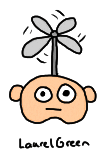 a drawing of a head with helicopter blades sticking out of it