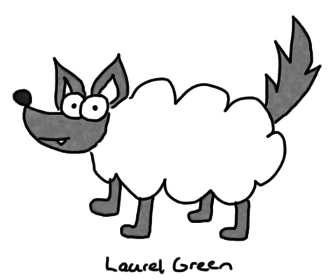 a drawing of a wolf wearing a sheep's pelt