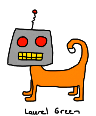 a drawing of a robot/cat hybrid