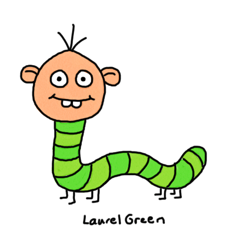 a drawing of an inchworm with a human head