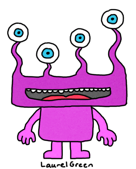 a drawing of a four-eyed purple creature