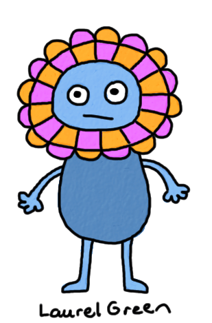 a drawing of a flower critter