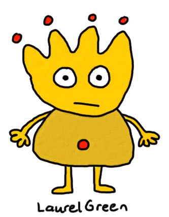 a drawing of a yellow critter with red dots