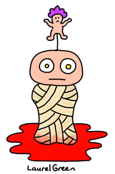 a drawing of a limbless mummy with a baby wearing a purple afro wig impaled on its head
