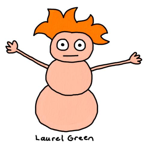 a drawing of a human/snowman hybrid