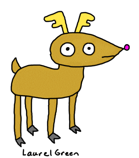 a drawing of derpy-looking deer