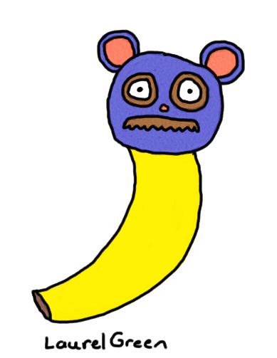 a drawing of a mustache banana bear
