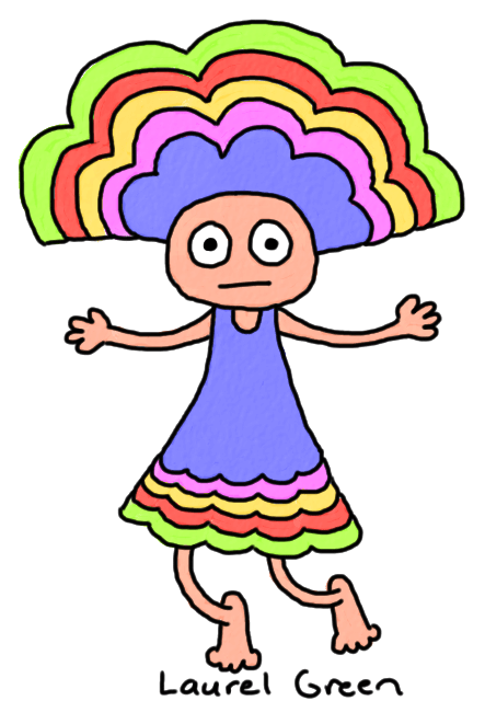 a drawing of a girl wearing a fancy multicoloured headdress and dress
