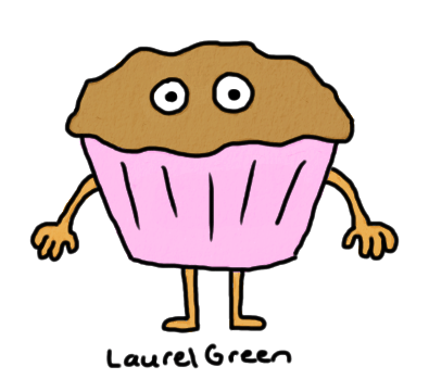 a drawing of an anthropomorphized muffin