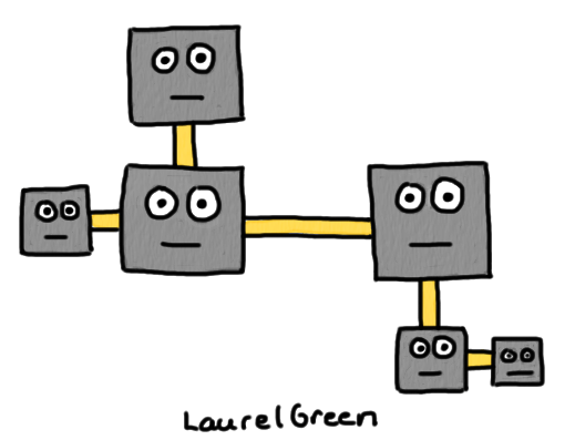 a drawing of anthropomorphized circuit