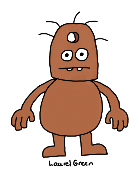a drawing of a brown creature with a hole in its head