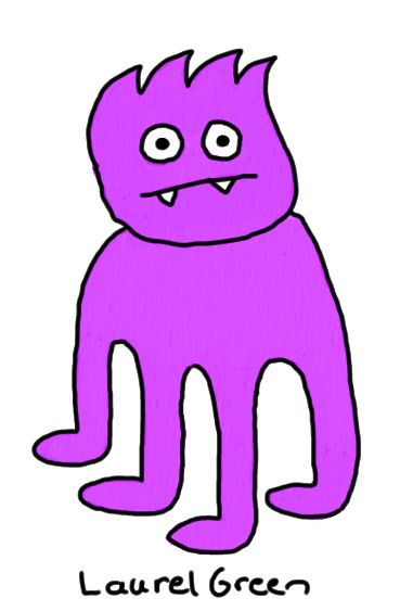 a drawing of a four-legged purple thing