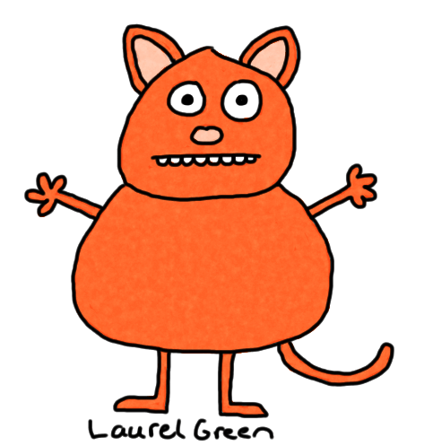 a drawing of a fat orange cat