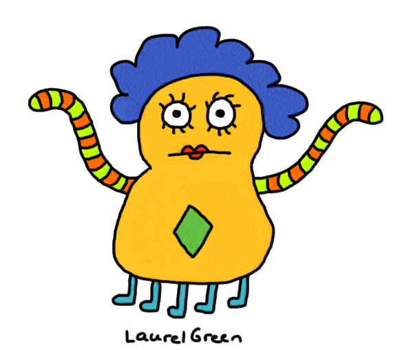 a drawing of a many-legged alien with tentacles for arms