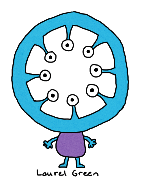 a drawing of a creature with a doughnut-shaped head with its eye inside the hole