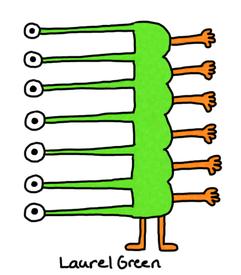 a drawing of a creature with a long body and its eyes and arms in a ladder formation up the side