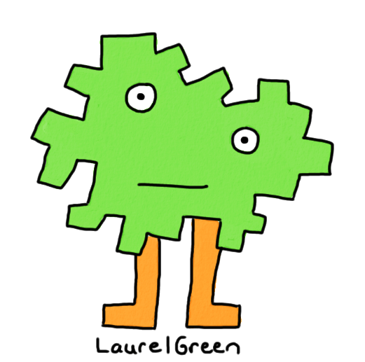 a drawing of a creature with a jagged green body
