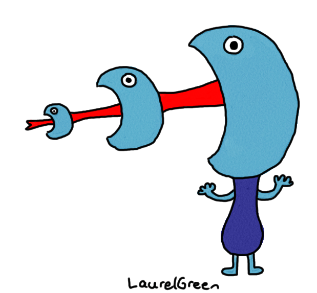 a drawing of a creature with heads shooting out of its mouth