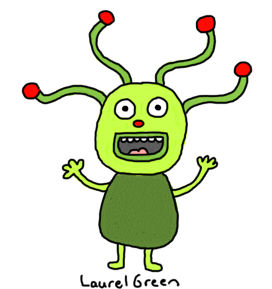 a drawing of a crazy creature