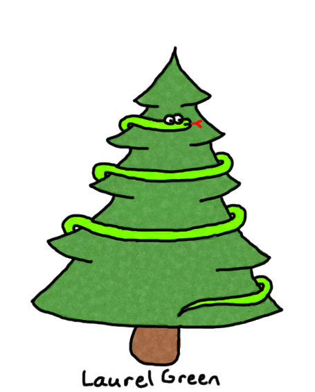 a drawing of a snake wrapped around a christmas tree