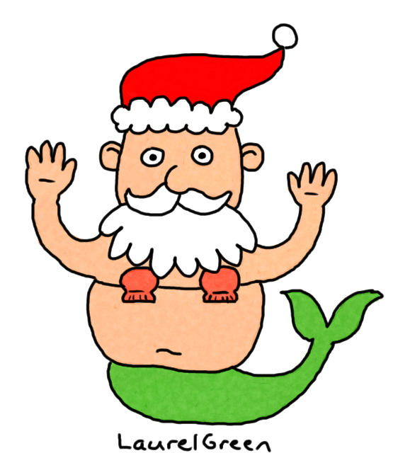 a drawing of santa claus as a mermaid