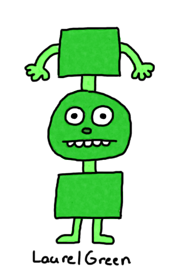 a drawing of a green creature with a discombobulated body