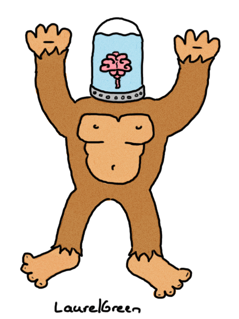 a drawing of an ape's body being controlled by a brain in a jar