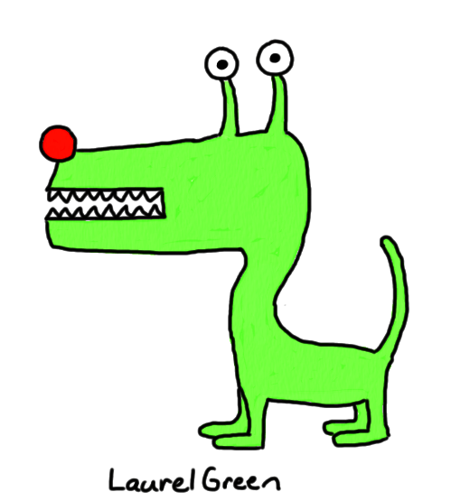 a drawing of a scary, green extraterrestrial dog