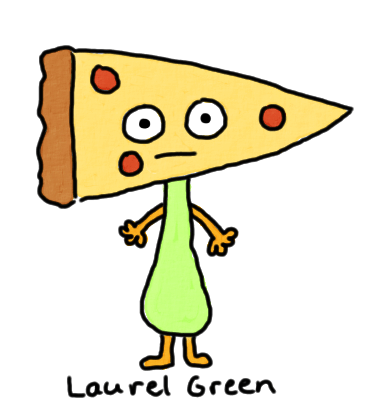 a drawing of a creature with a pizza for a head