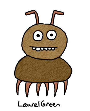 a badly-drawn brown insect