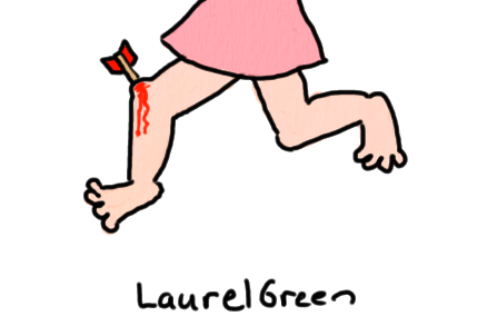 a drawing of the legs of a lady. She has an arrow on one of her knees.