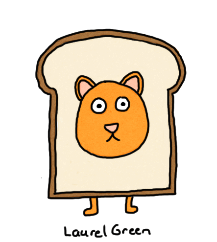 a drawing of cat with its head poked through a slice of bread