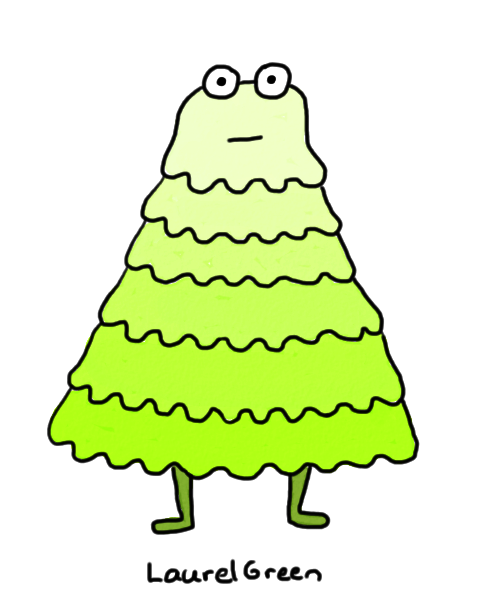 a drawing of  a creature made of layers of green goo