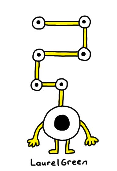 a drawing of a weird eyeball creature