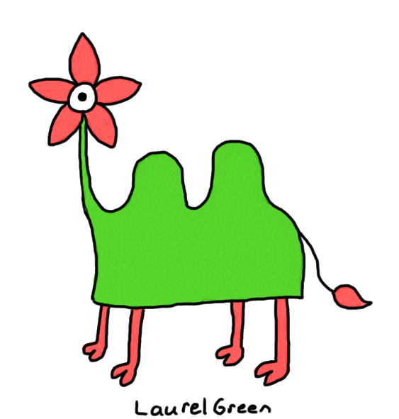a drawing of a creature that is part flower and part camel
