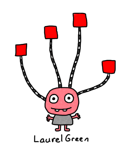 a drawing of a creature with squares growing out of its head