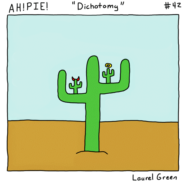 a comic about a cactus that is torn between its good and evil side