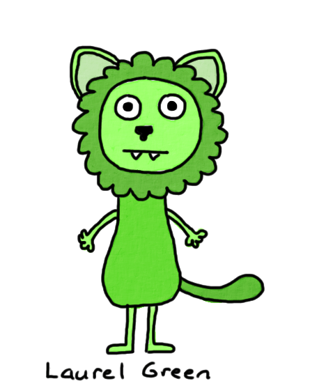 a drawing of a green lion