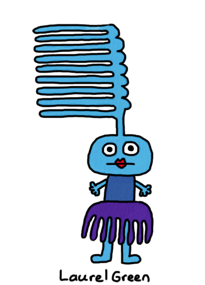 a drawing of a gal with a comb growing out of her head