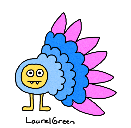 a drawing of a creature with lots of feathers