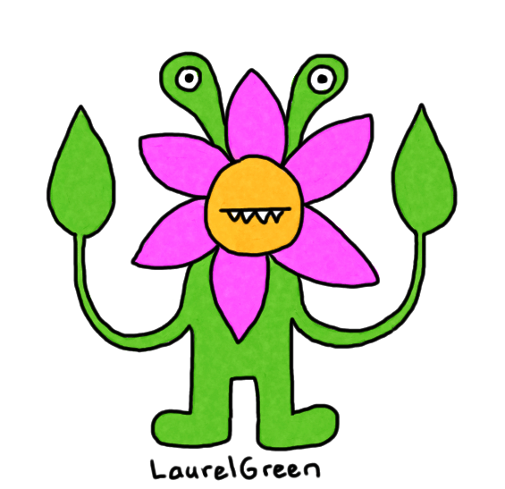 a drawing of a flowery monster