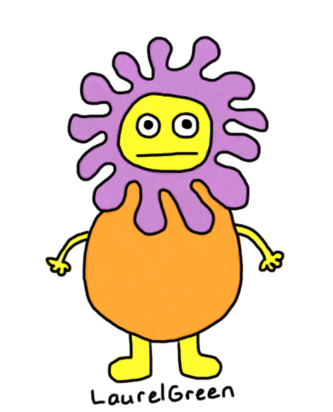 a drawing of a flowery person