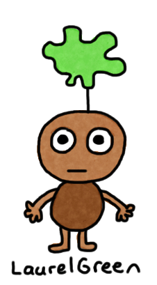 a drawing of a person with a green thing growing out of their head