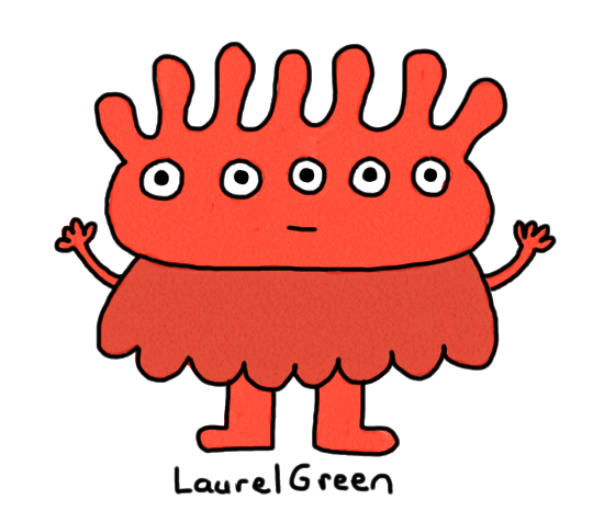 a drawing of a red thing