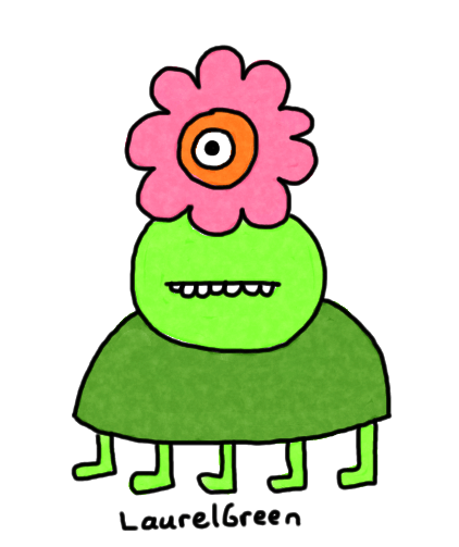 a drawing of a flowery alien
