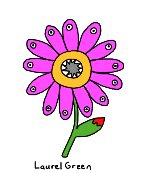 a drawing of a flower monster