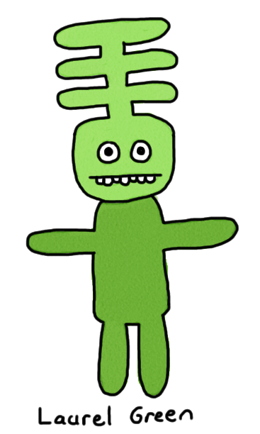 a drawing of a green thing